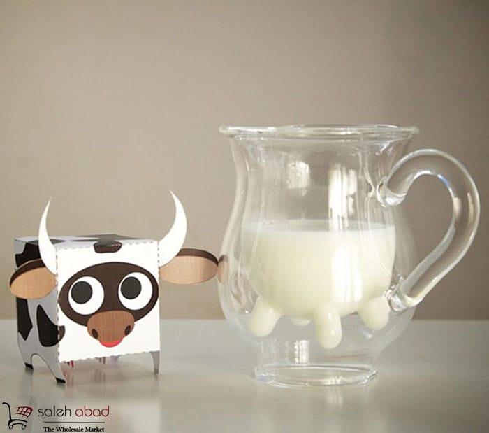 فروش عمده لیوان پیرکس طرح شیرگاو