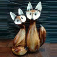 فروش عمده مجسمه دکوری دو روباه