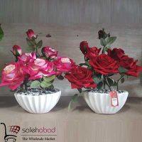 فروش عمده گلدان رز سرخ هفت گل
