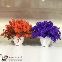 خرید عمده گلدان شمشاد رنگی مصنوعی