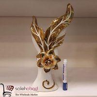 فروش عمده گلدان طلایی گل برجسته عروس