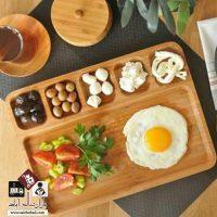 فروش عمده سینی سرو متوسط بامبو ۶ خانه