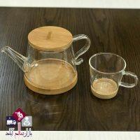 فروش عمده ست قوری و فنجان بامبو شیشه