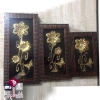 فروش عمده تابلوی سه تکه طرح گل طلایی