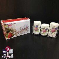 فروش عمده جاقاشقی سرامیکی 3 تایی گلدار