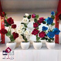 فروش عمده گلدان گل رز مصنوعی ۵ تایی