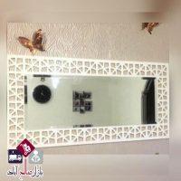 فروش عمده آینه افقی سفید طرح هندسی