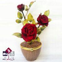 فروش عمده گلدان گل رز دکوری طرح چوب