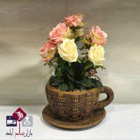 فروش عمده گل رز گلدان فنجانی شیک