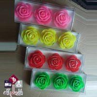 فروش عمده ست شمع سه تایی گل رز