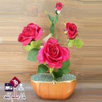 فروش عمده گلدان گل مصنوعی رز چهار گل
