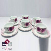فروش عمده سرویس فنجان و نعلبکی طرح گل رز