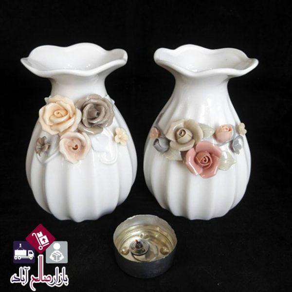 فروش عمده گلدان سرامیکی طرح گل برجسته