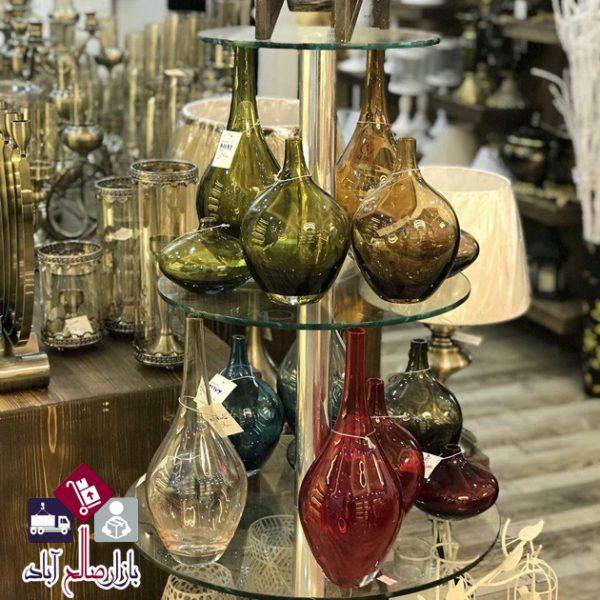 فروش عمده گلدان سالونگ شیشه ای شفاف