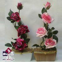 فروش عمده گلدان طرح چوب و رز مخملی