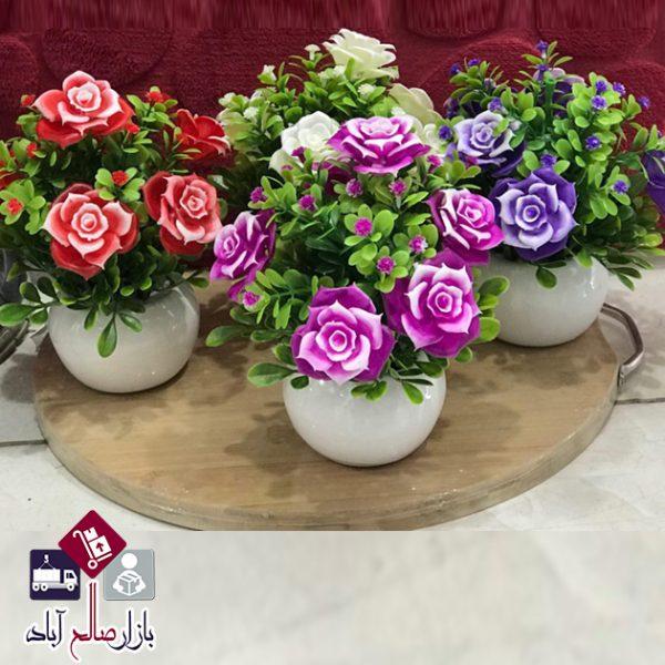 فروش عمده گلدان کروی سرامیکی و گل رز