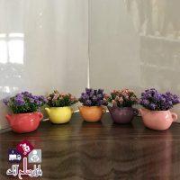 فروش عمده گلدان طرح قوری گل بنفشه