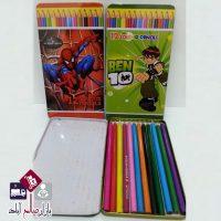 فروش عمده مداد رنگی ۱۲ رنگ جعبه فلزی