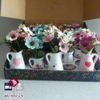 فروش عمده گلدان و گل نسترن مینیاتوری