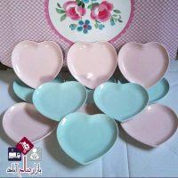 فروش عمده ست پیش دستی سرامیک قلبی صورتی و آبی