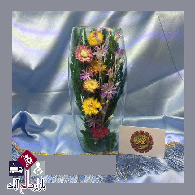 فروش عمده گلدان شیشه ای گلدار دکوری