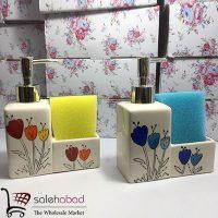 فروش عمده جای مایع دستشویی دو قلو گلدار