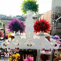 فروش عمده پایه گلدان ۲ طبقه طرح گل لاله