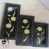 فروش عمده تابلوی گل طلایی سه تکه دکوری