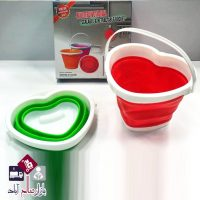 فروش عمده سطل آب تاشو قلبی سه رنگ