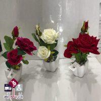 فروش عمده گلدان گل رز مخمل سه عددی