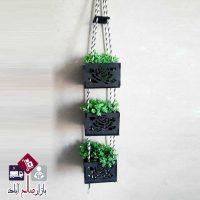 فروش عمده آویز گل سه تایی طناب کنفی