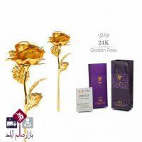 فروش عمده شاخه گل کادوئی طرح رز طلایی