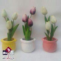 فروش عمده گلدان سفالی رنگی گل لاله