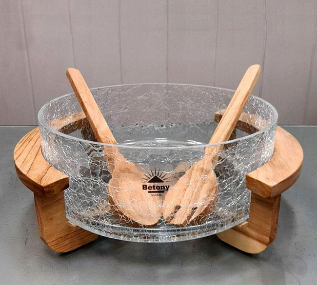 خرید عمده ظرف سالاد با پایه چوبی
