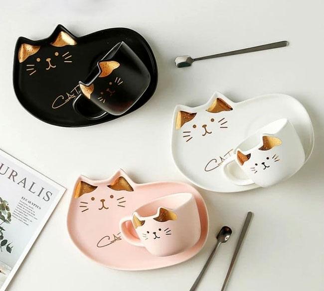 خرید عمده فنجان سینیدار سرامیک گربه