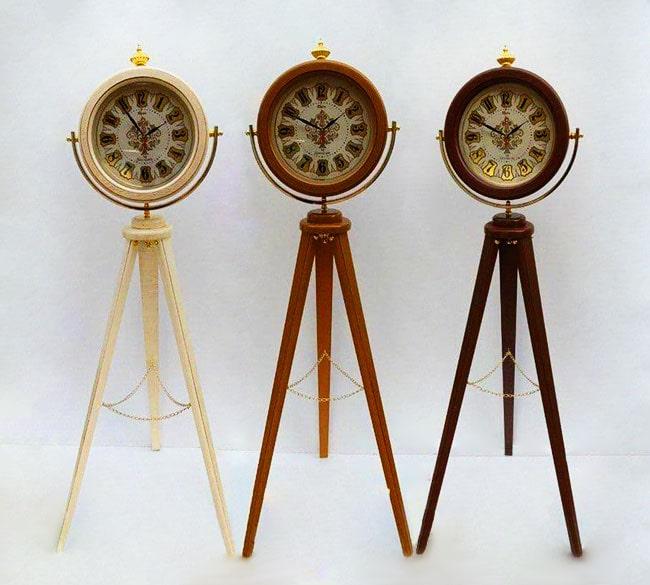 خرید عمده ساعت ایستاده سه پایه چوبی