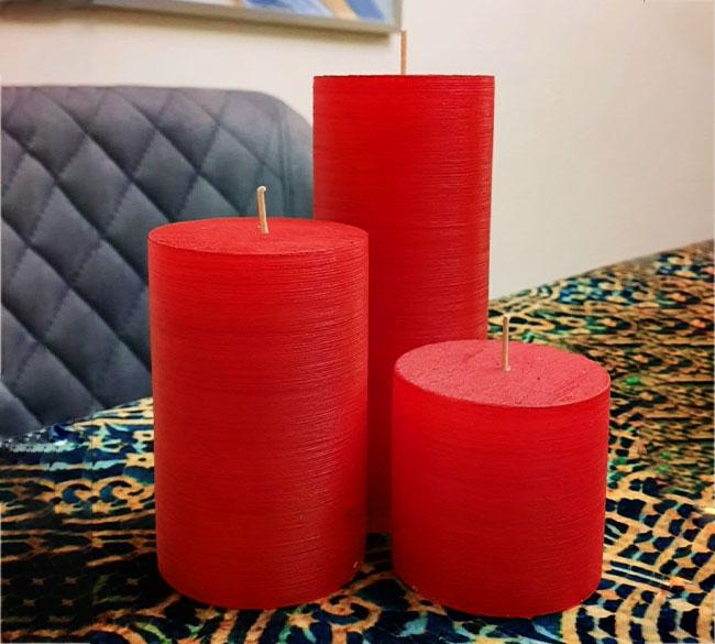 خرید عمده شمع رنگی استوانه ۳ تایی