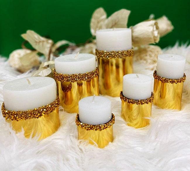 شمع دکوری شیک طلایی عمده